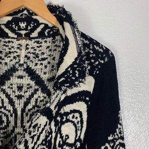 Free People Blue White Fray Cardigan Sweater Long